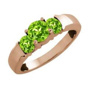 20 Ct Genuine Round Green Peridot Gemstone 14k Rose Gold Ring Jewelry