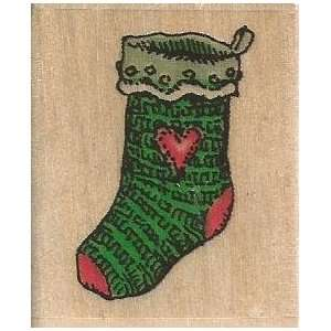 Heart Stocking Holly Pond Hill Wood Mounted Rubber Stamp