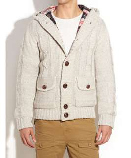 Stone (Stone ) Cable Knit Hooded Cardigan  241334616  New Look