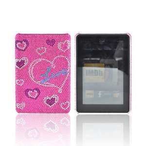 For  Kindle Fire Love & Hearts on Pink Bling Gems