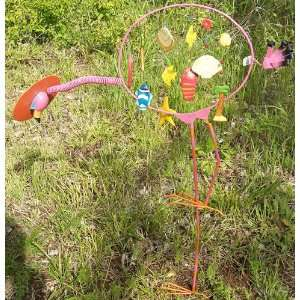 Pink Flamingo Yard Ornament with Chimes Patio, Lawn & Garden