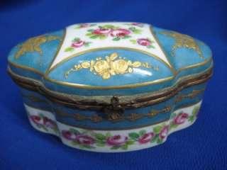 SEVRES LIMOGES FRANCE ROYAL BLUE PINK ROSES HEAVY GOLD HINGED TRINKET