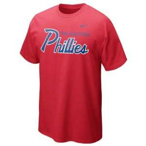 Phillies Red Heather Nike Slidepiece T Shirt