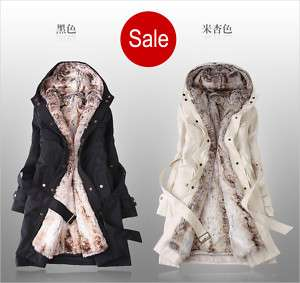 Women 2in1 Hooded Fur Winter Long Coat Outerwear