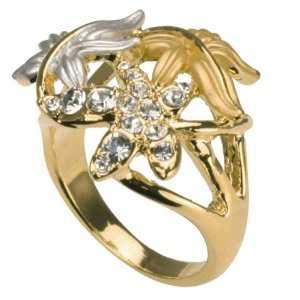 Gold Silver Tone Cubic Zirconia Fashion Ring Size 7 Dahlia Jewelry
