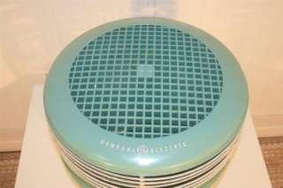 General Electric Mint Green 3 Speed Floor Hassock Dual Blade Stool Fan