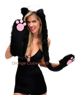 Rave Plush Skunk Animal Halloween Costume Hoodie Paw Scarf Hat Hand