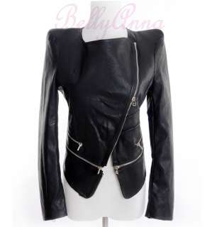 Women Vtg Retro Punk Zip Peak Power Shoulder PU Leather Moto Jacket