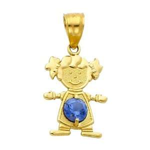 14K Yellow Gold December CZ Birthstone Girl Charm Pendant for Baby and