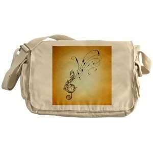 Khaki Messenger Bag Treble Clef Music Notes
