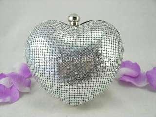 Silver Metallic Wedding Solid Handbag Purse Love Heart MEC 01152