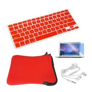SKQUE PREMIUM SCREEN PROTECTOR+RED SILICONE KEYBOARD CASE+WHITE