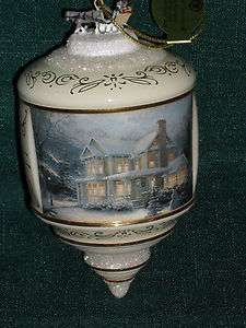 Thomas Kinkade VICTORIAN CHRISTMAS III Heirloom Glass ORNAMENT 2001