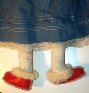 24 Antique German China Head Doll Cloth Body Red Leather Shoes