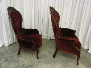 Victorian Style Set of Ladies & Gentlemans Chairs Deep Burgundy Fabric