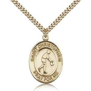 Gold Filled St. Saint Christopher Medal Pendant 1 x 3/4 Inches 7153GF
