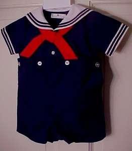 Petit Ami 2576 2Pc Navy Sailor Suit NWT 3, 6, 9 M