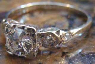 Art Deco .79 ct SI2/G Old European Cut DIAMOND Engagement Ring 14K WG