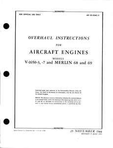1650 & MERLIN 68, 69 OVERHAUL MANUAL. Rolls Royce Aero Engine