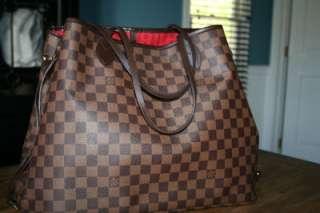 LOUIS VUITTON Brown DAMIER EBENE NEVERFULL GM Large TOTE BAG Handbag