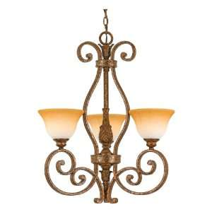 with 3 Uplights with Amber Leaf Fossil Glass, Antique Gold Leaf Finish