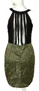 139 White Chocolate Pleated Stripe Black Tunic Shift Dress Small S 4