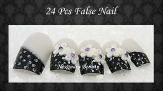 24Pcs 3D Pre Design False Nails Tips Nail Art
