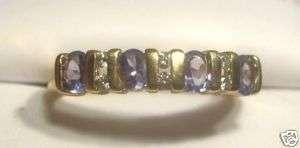 Tanzanite diamond band ring 14K yellow gold sz 10