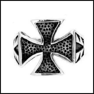 This iron cross ring made of pure sterling silver is a bikers must