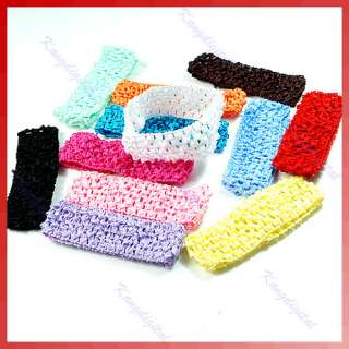 Lot of 12 Colors Kid Girl Hair Band Toddler Crochet Hair Bow stretchy
