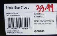 TRIPLE STAR 7 LOW J YOUTH BASEBALL SHOES/CLEATS BLACK/WHITE