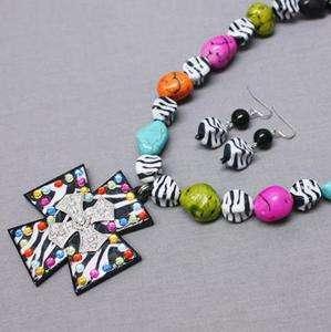 Cross Multicolor Neckace SET Sparkling Rhinestone Western BLING