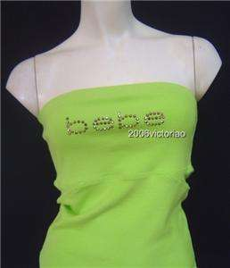 New BEBE Logo Rhinestones GREEN Tube Halter XS S M L
