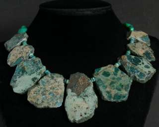 AMAZING  NATURAL GOLD VEIN TURQUOISE SLABS NECKLACE