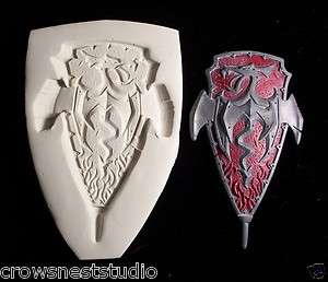 DRAGON SHIELD medieval ~ CNS polymer clay mold mould