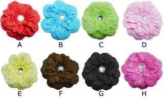 LOT 20 PCS 4.5 Peony Baby Woman Hair Jewelry Flower Clip Crystal Gem