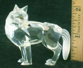 Swarovski Crystal WOLF Figurine Swan Logo Retired 2004