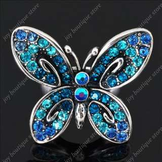 Blue swarovski crystal rhinestone butterfly animal flower jewelry