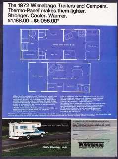 1972 Winnebago Travel Trailer & Camper Coach Floor Plan promotional