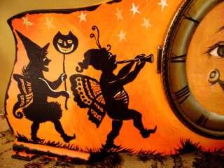 HALLOWEEN ANTIQUE CLOCK RYTA PAINTING FOLK ART OWL CAT MOON BAT