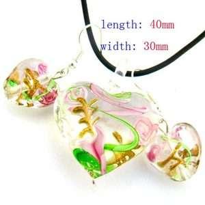 Flower Heart Lampwork Murano Glass Necklace Pendant Earrings Vogue