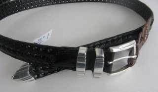 NWT*mens black leather belt*TASSO ELLA*silver buckle