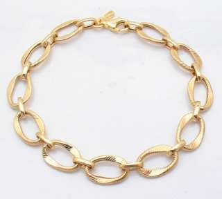 Textured Oval Rolo Bracelet 14K Yellow Gold ALL SIZES