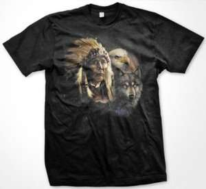 Native American Indian Chief Eagle Wolf Mens T shirt