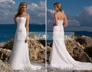 Cheap New White Beach Chiffon Bridal Gown Wedding Dress Custom made