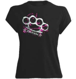 Darkside Girlie Shirt mit Motiv Knuckle Duster / Schlagring Pink