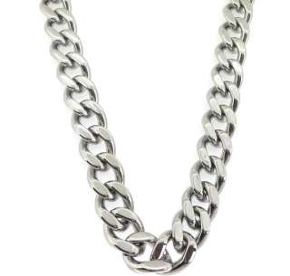 Steel Mens Polished Silver Tone Cuban Pendant Necklace Chain 8MM Sale