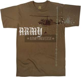 Brown Vintage Army Helicopter T Shirt
