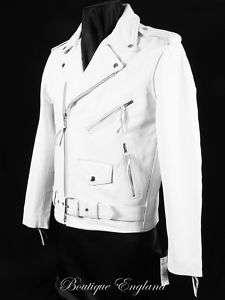 Mens BRANDO White Motorcycle Motorbike Leather Jacket