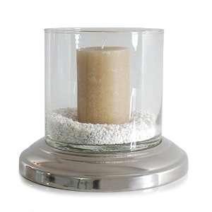 Windlicht PLATY, rund, Glas mit Aluminiumsockel: .de: Küche